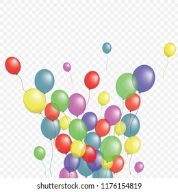 Balloons group isolated vector graphic design. Greeting card background. Colorful helium flying balloons isolated on transparent background bunch, group of party decor objects.