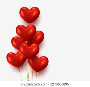Balloons group realistic in shape red heart with gold ribbon. 3d ballon isolated on white background