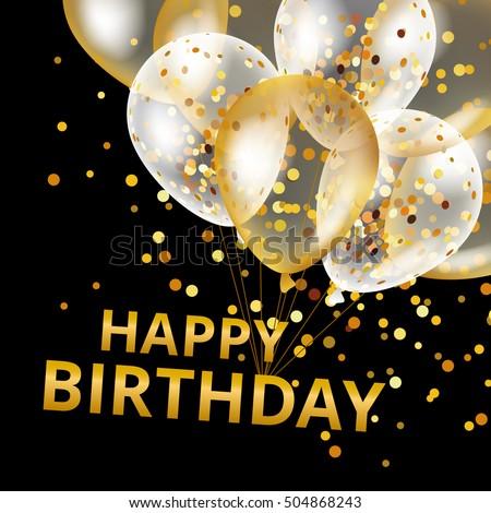 Balloons Happy Birthday On Black Gold Stock Vector Royalty Free