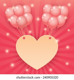 balloons and heart banner with sparkling stars on pink starburst background. vector.