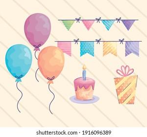 balloons helium and acuarela birthday set icons vector illustration design