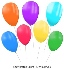 Balloons with helium of different colors on a white background. Realistic vector image of festive balloons.