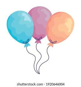 balloons helium floating acuarela birthday icons vector illustration design