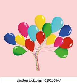 Balloons for the holiday and birthday and party. Multicolored inflatable balls. Invitation and holiday card. Free space for text or text. Vector
