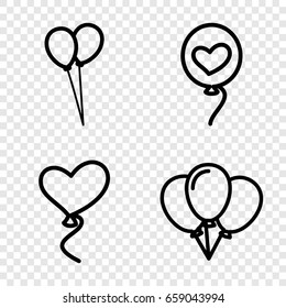 Balloons icons set. set of 4 balloons outline icons such as balloon