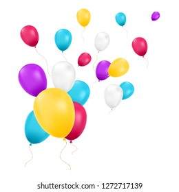 Balloons isolated. Color composition of vector realistic balloons. For Birthday greeting cards or other designs