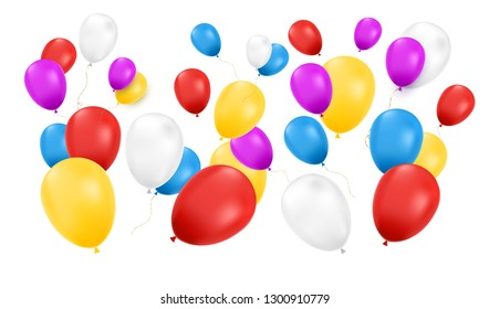 Balloons isolated. Color composition of vector realistic balloons.