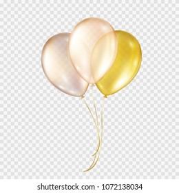 Balloons isolated on transparent background. Glossy gold festive 3d helium ballons. Vector realistic translucent golden rose baloons mockup for anniversary, birthday party design