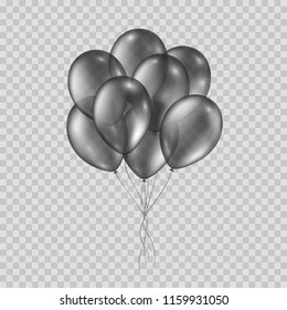 Balloons isolated on transparent background. Vector realistic helium black bunch of balloons template.