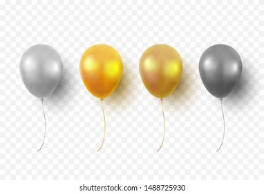 Balloons isolated on transparent background. Glossy gold, silver, black festive 3d helium balloons. Vector realistic translucent golden baloons mockup for anniversary, birthday party design\n
