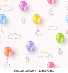 Balloons with kids flying on pink cloudy sky background. Vector colorful ballons seamless patern for Happy birthday party design.