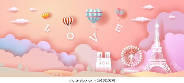 Balloons of love and Heart with eiffel tower in france, For valentine's day, wallpaper, flyer, card, posters, postcard, brochure, advertising, paper cut, Vector illustration on pink color background.