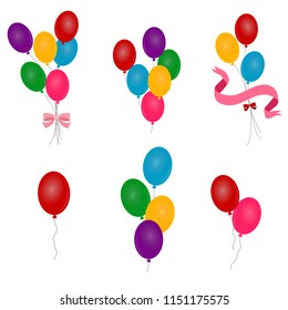 Balloons. Multicolored balloons on a white background
