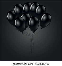Balloons on a black background. Balloons. Vector