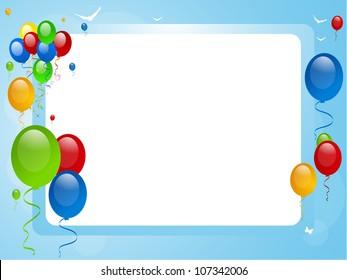 Balloons on a blue border