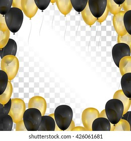 Balloons on transparent background. Gold and black frame for greeting cards. Vector balloons isolated. 3d design.