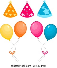 Balloons and party hat set