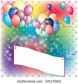 Balloons Party Invitation card with falling board and flown away balloons