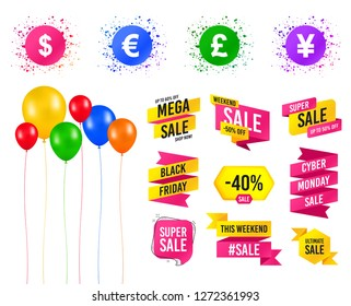 Balloons party. Sales banners. Dollar, Euro, Pound and Yen currency icons. USD, EUR, GBP and JPY money sign symbols. Birthday event. Trendy design. Vector