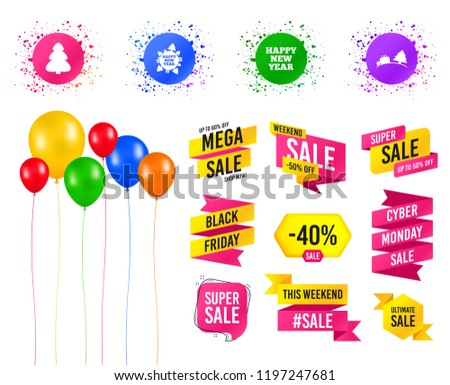 balloons party sales banners happy new stock vector