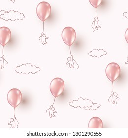 Balloons with people flying on pink cloudy sky background. Vector golden rose ballons seamless patern for Happy birthday party design.