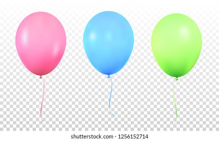 Balloons. Realistic vibrant colorful helium balloons with ribbons. Isolated ballon.