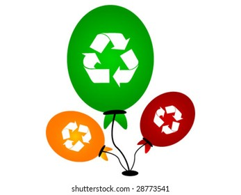balloons with recycle symbols