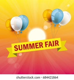 Balloons with ribbon and text Summer Fair. Eps 10 vector file.