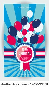 Balloons Sale badge. Vertical background 1080x1920 resolution.