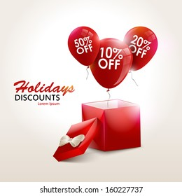 Balloons With Sale Discounts and with box. Holidays SALE concept background. Sale balloons. Sale design. Sale gift bonus