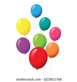 Balloons set isolated on white background.Cartoon flat style balloons for web site,poster,placard and wallpaper.Useful for greeting and wedding card,mobile app.Creative modern art,vector illustration