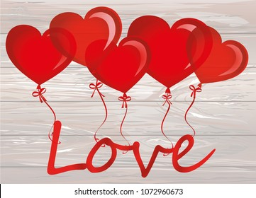 Balloons in the shape of heart bandaged with ribbon and bow hold the word love. For the holiday and valentine's day. Red inflatable balls. Invitation and holiday card. Free space for text. Vector