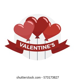Balloons in the shape of hearts floating behind a Valentines ribbon banner vector illustration icon