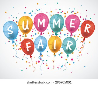 "Balloons with text ""Summer Fair"". Eps 10 vector file."