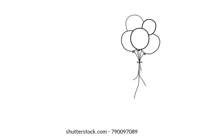 Balloons thin line isolated on white background. For web site, poster, placard, print material and mobile app. Creative art for greeting cards, modern drawing concept, vector illustration