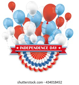 Balloons with US bunting, and ribbon for Independence Day. Eps 10 vector file.