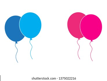 Balloons vector icons isolated on white background.  Pink and blue balloons icon in flat style. Useful for party poster, birthday greeting and wedding card. Vector illustration