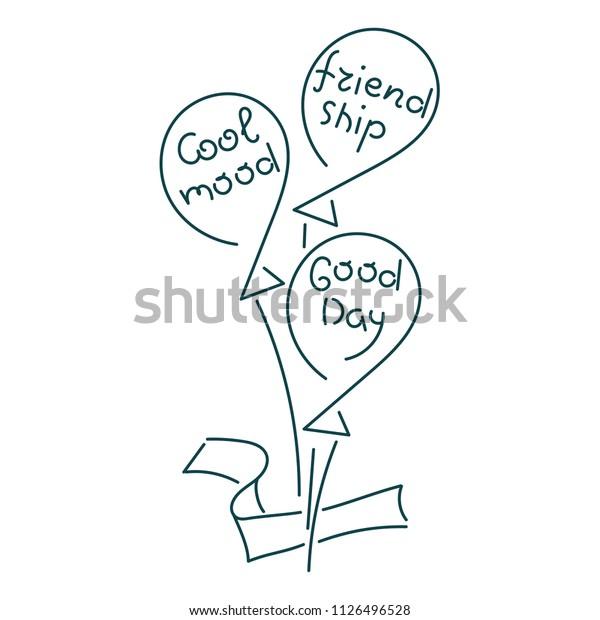 Balloons Words Cool Mood Friendship Good Stock Vector