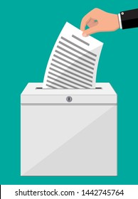 Ballot box. Container with lock full of documents papers. Voting case for suggestions elections. Box for tips and donations. Vector illustration in flat style