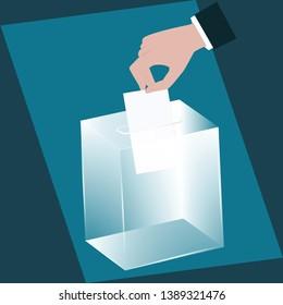 Ballot box - glass is transparent - man's hand drops a ballot paper - vector. Voting, election concept.