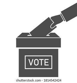Ballot box and hand with vote. Icon of election. Voter with envelope on referendum. Logo of democracy. Candidate in government, parliament, president. Man with paper of poll. Political symbol. Vector.