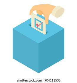 Ballot box icon. Isometric illustration of ballot box vector icon for web