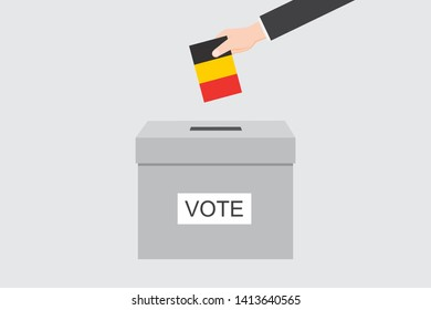 Ballot Box with an Illustrated Flag for the Country of  Belgium