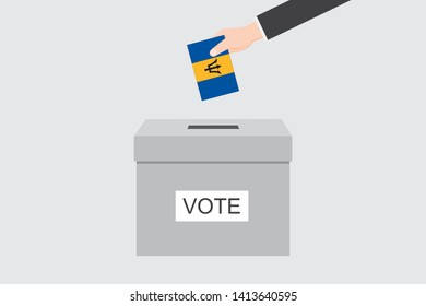 Ballot Box with an Illustrated Flag for the Country of  Barbados