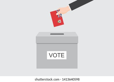 Ballot Box with an Illustrated Flag for the Country of  Bermuda