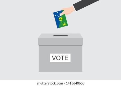 Ballot Box with an Illustrated Flag for the Country of  Christmas Island