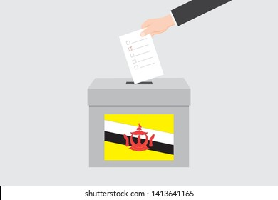 Ballot Box with an Illustrated Flag for the Country of  Brunei