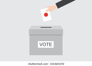 Ballot Box with an Illustrated Flag for the Country of  Japan