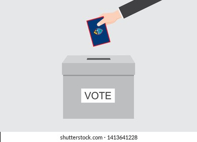 Ballot Box with an Illustrated Flag for the Country of  Guam