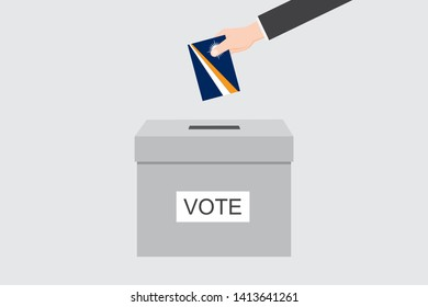 Ballot Box with an Illustrated Flag for the Country of  Marshall Islands